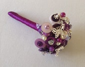 Purple  and Ivory Button Bouquet.  Small Flower Girl Bouquet.  Alternative Bouquet.  Keepsake Bouquet.     Bridesmaid Bouquet