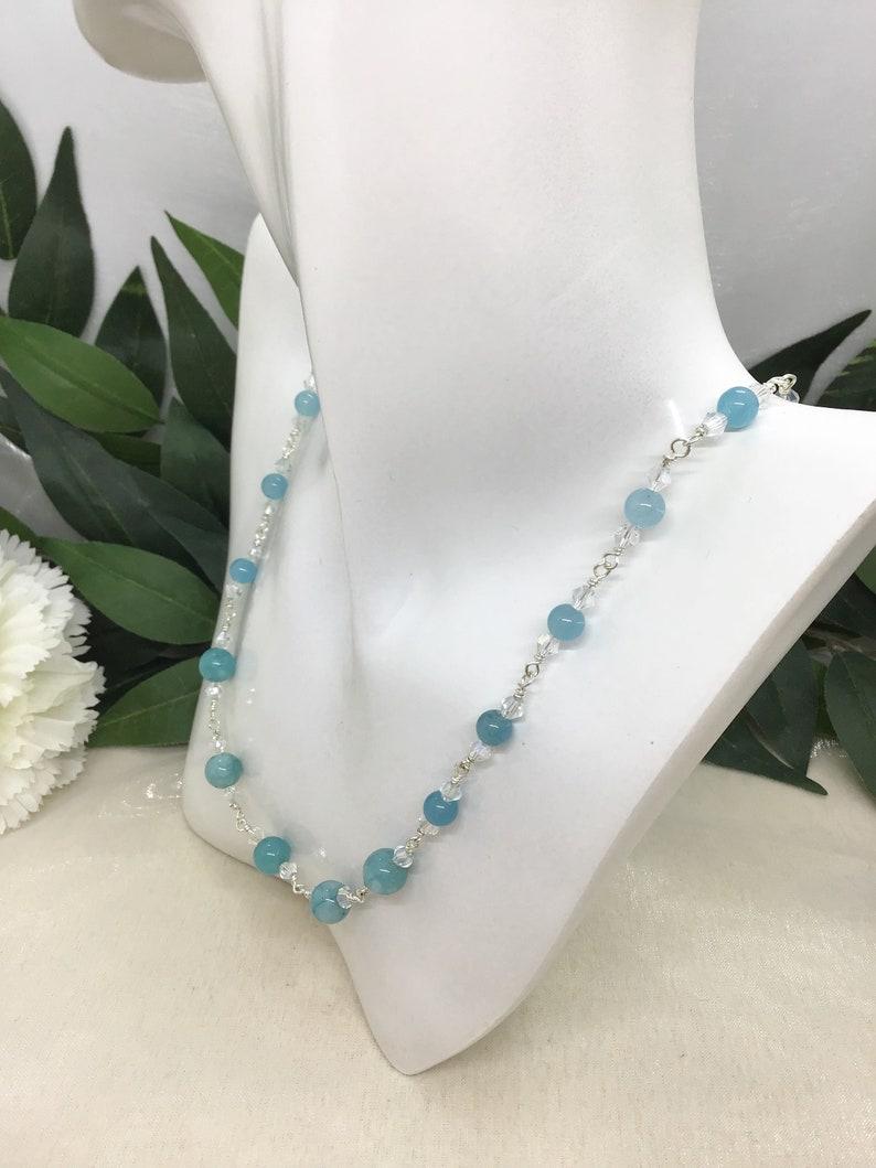 Aqua Blue Necklace Gemstone Necklace Jade Necklace Sparkly Necklace Aqua Jade and Crystal Necklace