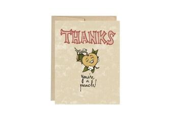 Thanks You're A Peach - Card Blank Inside