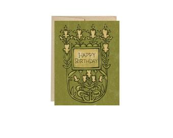 Birthday Green Floral - Card Blank Inside