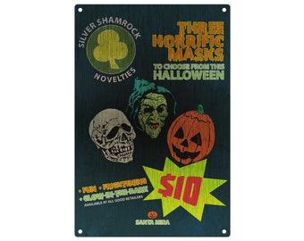 Halloween: 3 Masks Metal Sign