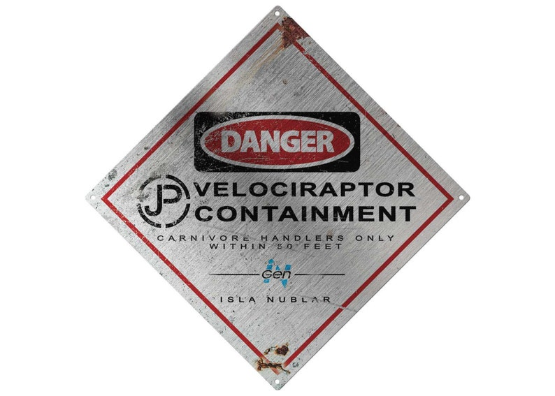 Jurassic Park: Raptor Containment Metal Sign image 0