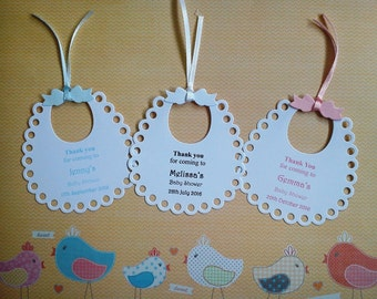 12 x Personalised Bib Thank You For Coming To Baby Shower Tags