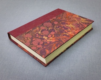 Red Book Cloth and Marbled Paper Notebook