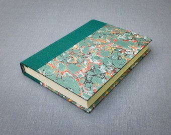 Green Book Cloth and Marbled Paper Notebook