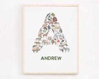 Personalized Animal Nursery Print, Baby Name Art Animal, Custom Initial Print, Custom Name Print, Safari Animal Nursery Decor, Gift for Baby