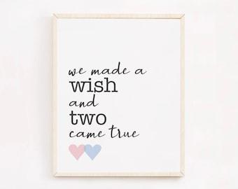 Twin Nursery Decor, We Made A Wish and Two Came True Twin Wall Art, Boy Girl Twin Nursery Art, Twin Boys Baby Gift, Twin Girls Baby Shower