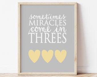 Triplet Nursery Art, Sometimes Miracles Come In Threes, Triplet Quote, Triplet Nursery Decor, Triplet Baby Gift, Triplet Announcement