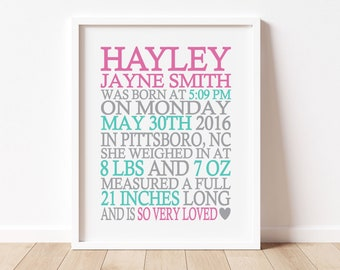Birth Announcement Wall Art Print, Baby Girl Birth Stats Print, Baby Girl Nursery Decor, Personalized Gift for Baby Girl Custom Gift