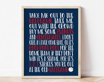 Take Me Out to the Ballgame Nursery Print, Baseball Nursery Decor, Baby Boy Sports Nursery Art, Kids Baseball Room Decor, Baseball Wall Art