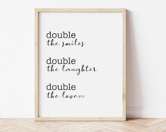 Twin Nursery Decor, Double the Love Print, Neutral Twin Nursery Art, Boy Girl Twin Hearts Nursery, Twin Girls Nursery, Twin Boys Nursery