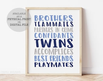 Twin Boy Nursery Art, Twin Brothers Print, Twin Nursery Decor, Twin Boys Nursery Decor, Gift for Twin Boys, Twin Boy Baby Shower Decor