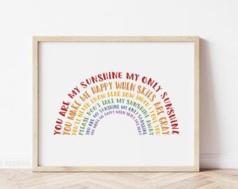 Rainbow Nursery Decor, You Are My Sunshine Print, Printable Rainbow Nursery Wall Art, Rainbow Baby Gift, Rainbow Playroom Decor