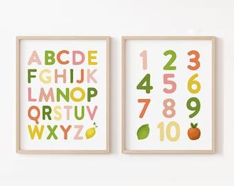Rainbow Alphabet Nursery Prints, ABC Nursery Art, Citrus Lemon Nursery Decor, Educational Wall Art, Kids Room Printable, Alphabet Numbers