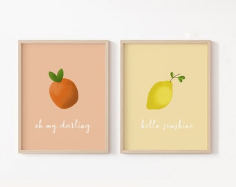 Fruit Nursery Wall Art, Citrus Nursery Decor,  Hello Sunshine Lemon Kids Print, Clementine Nursery Art, Oh My Darling Clementine Baby Shower
