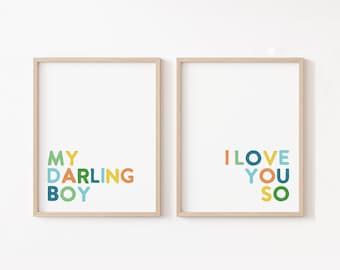 My Darling Boy I Love You So, Baby Boy Nursery Quote, Boy Nursery Art, Bright Nursery Decor, Boy Baby Shower Decor, Darling Boy Printable