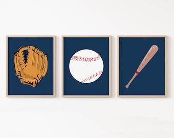 Baseball Nursery Art, Baseball Nursery Decor, Set of 3 Prints, Baby Boy Sports Nursery Art, Boy Baseball Wall Art, Baseball Baby Gift
