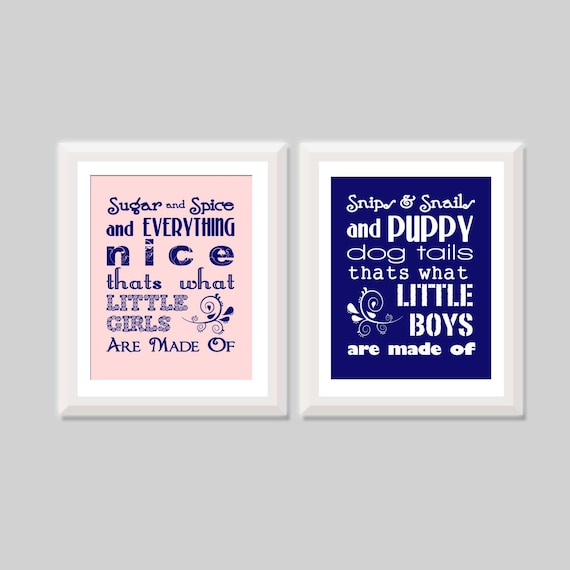 Twin Nursery Art Set Of Two Prints Sugar And Spice Snips Etsy