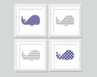 Square Whale Nursery Art Set of 4, Nautical Nursery Decor, Baby Boy Whale Prints, Nautical Kids Art, Whale Nursery, Nautical Decor