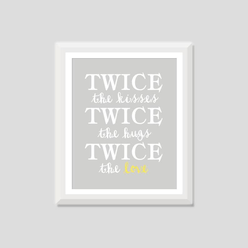 Twin Nursery Art Twice The Love Print Twin Nursery Decor Etsy