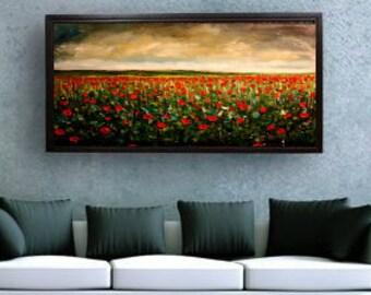 Landscape Painting, Extra Large, Poppy Field Original Large Landscape Oil Painting, Wall Decor, Fine Art