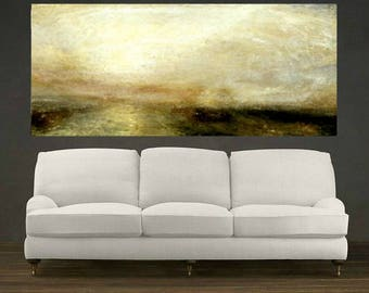 Seascape Painting, Light on Ocean, Large Reproduction Oil Painting Colorful Artwork, Wall Art, Large Wall Decor, Home Decor, Office Decor