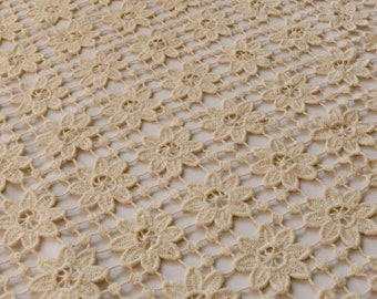 2 SIDE SCALLOPED EDGE 100/% COTTON GUIPURE LACE FABRIC SMALL VINTAGE FLOWER