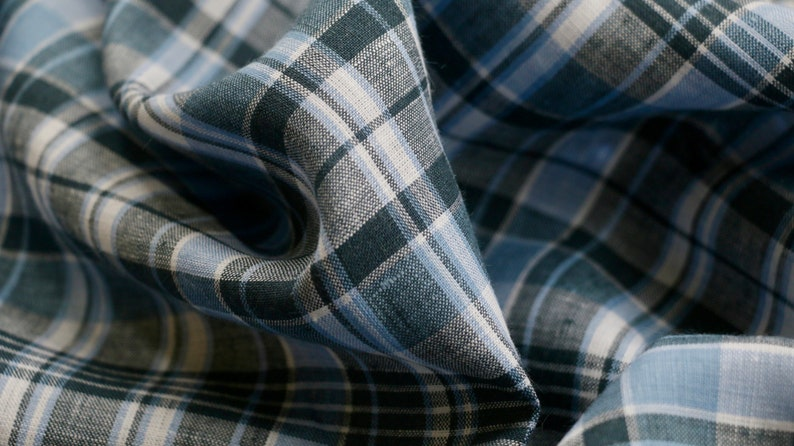 100/% IRISH LINEN FABRIC BLUE /& WHITE CHECK DESIGN