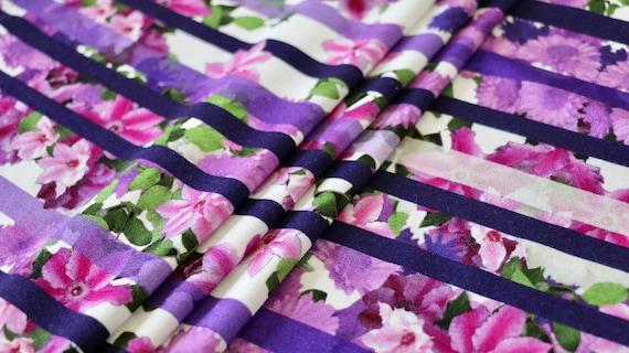 Viscose Jersey Tissu-fleurs et rayures 4 Way Stretch