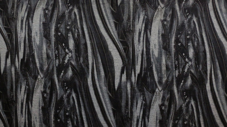 2 WAY STRETCH GREY PRINTED SINGLE KNIT FABRIC ABSTRACT DESIGN