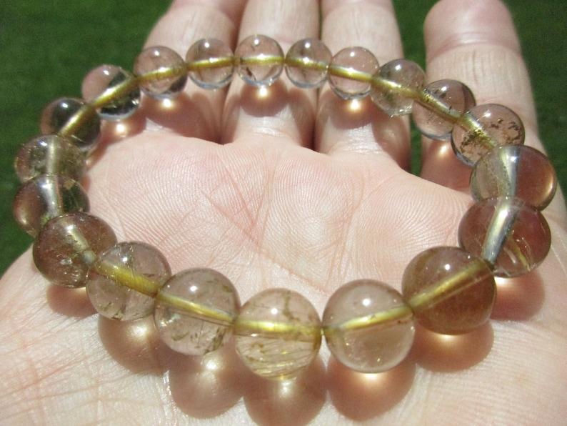 Golden Rutilated Citrine Round Bead Bracelet-Natural Citrine Quartz Gold Rutile Crystals-Stretch Bangle-10mm Bead Gemstone Stacking Bracelet