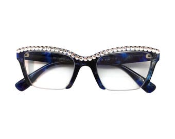 acf0215d862 Razor - Blue Marble (Reading Glasses with Rhinestone Bling)
