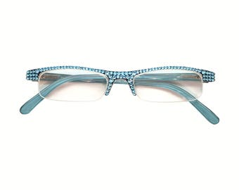 d8e753c3ca0 Half Pint - Aqua (Reader Glasses with Rhinestone Crystal Bling)