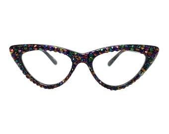b613689a7496a Dark Rainbow Cat Eye Reading Glasses with Swarovski Crystal Rhinestone Bling