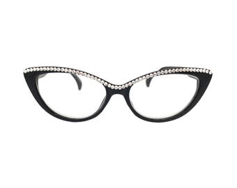 f4720c9c25e Pawsitive - Black (Cat Eye Reading Glasses with Crystal Rhinestone Bling)