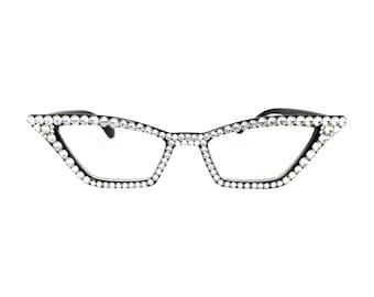 9174b0f454 Pointy Cat Eye Reading Glasses with Swarovski Crystal Rhinestone Bling in  1.00