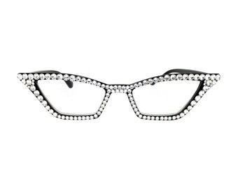 204beaf4245d Pointy Cat Eye Reading Glasses with Clear Swarovski Crystal Rhinestone Bling  in 1.00