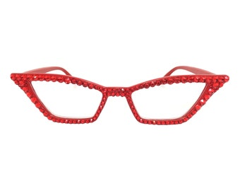 a9a2b39206 Red Pointy Cat eye Reading Glasses with Swarovski Crystal Rhinestone Bling