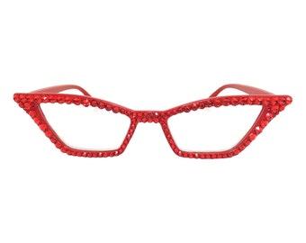 323fe646ef8 Red Pointy Cat eye Reading Glasses with Swarovski Crystal Rhinestone Bling