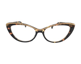 6bb1d72f5e8 Pawsitive - Light Torti (Cat Eye Reading Glasses with Crystal Rhinestone  Bling)