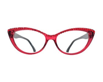 2d8f94c72c7 Pawsitive - Red (Cat Eye Reading Glasses with Crystal Rhinestone Bling)