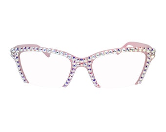 0cc413182a2 Pink Semi Rimless Full Cover AB Swarovski Crystal Rhinestone Reading Glasses  - Limited Edition strengths +1.75 and +3.50