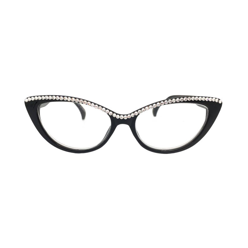 16b6889cff5e Pawsitive Black Cat Eye Reading Glasses with Crystal