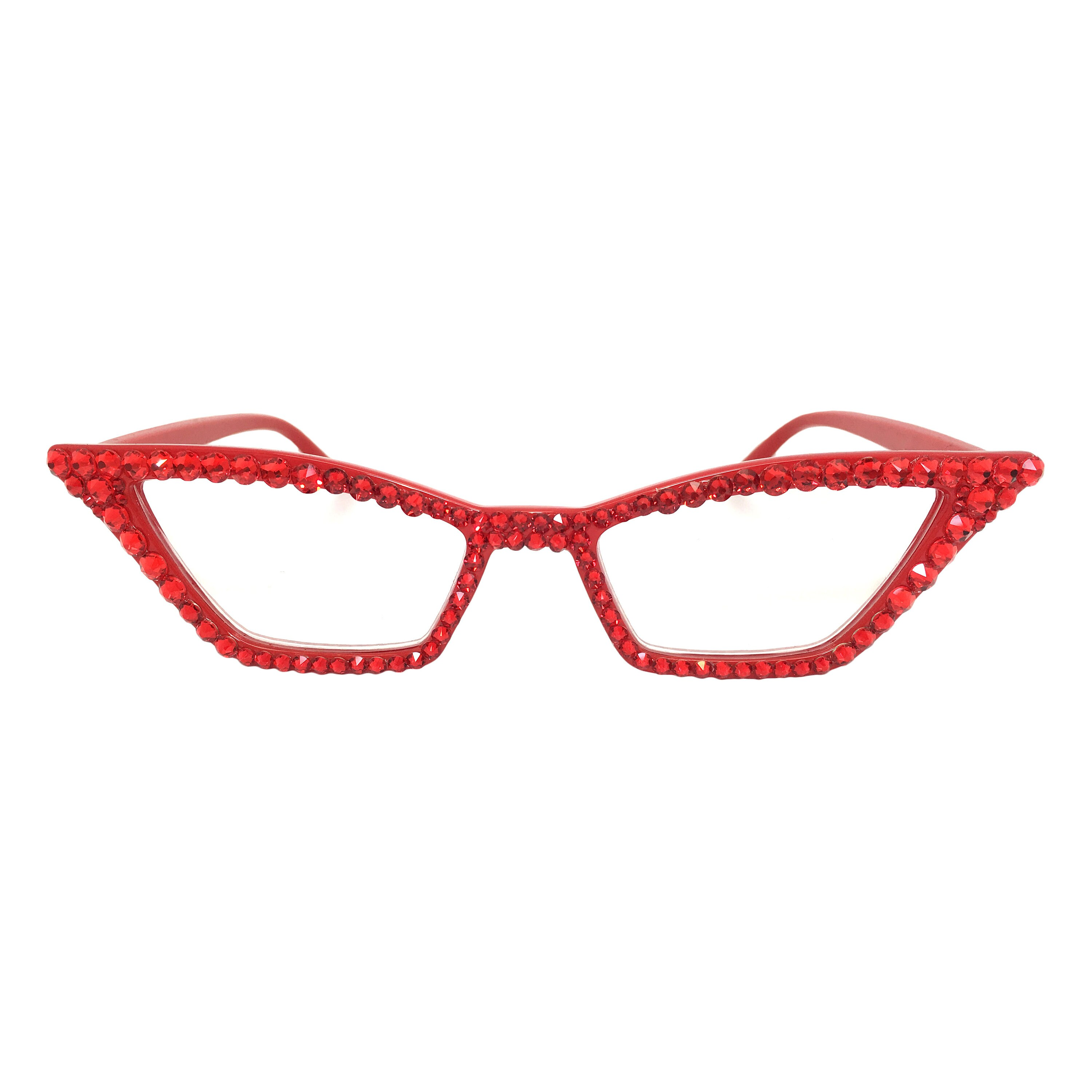 49ce671a7c9e Red Pointy Cat eye Reading Glasses with Swarovski Crystal