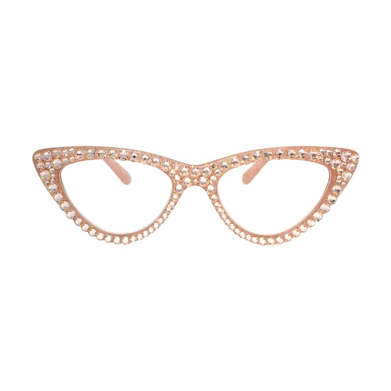 9a6d8f2307a2 Rose Gold Cat Eye Reading Glasses with Swarovski Crystal Bling