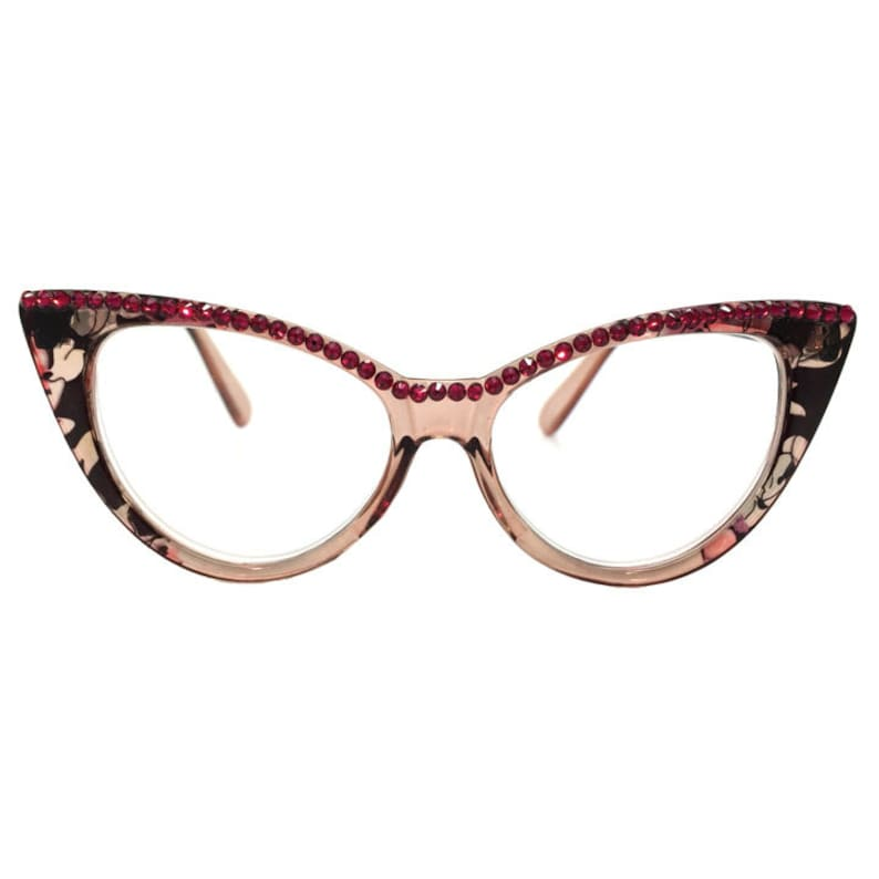 cc41a5bd1b9 Cat Lady Ruby Red Cateye Reading Glasses with Crystal