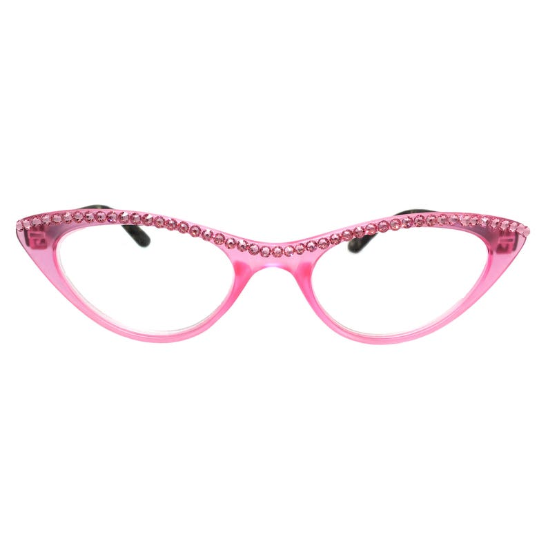 e5c816476fc Cateye Kiss Pink Cat Eye Reading Glasses with Bling