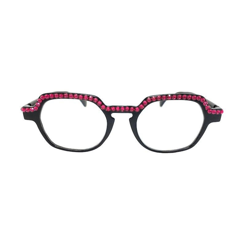 95528662288a Squared Fuchsia Swarovski Crystal Reading Glasses in