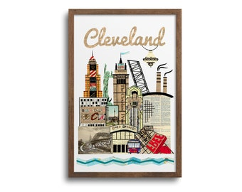 Cleveland Ohio Skyline Poster | Notecards -  Cleveland Skyline Art Print, Cleveland Cityscape, Cleveland Wall Art