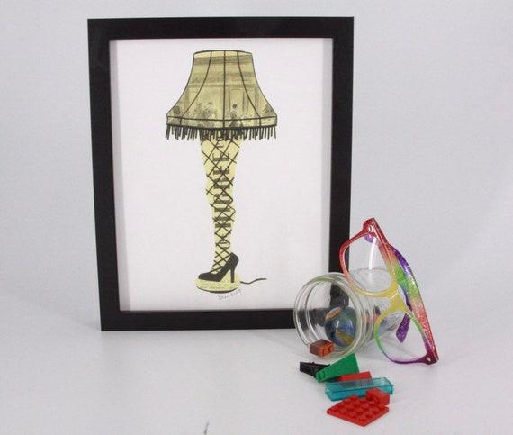 The Christmas Story Leg Lamp.Christmas Story Leg Lamp Print Notecards